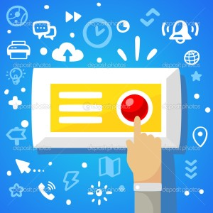 Bright vector illustration male hand presses the red button on a blue background with different financial application icons